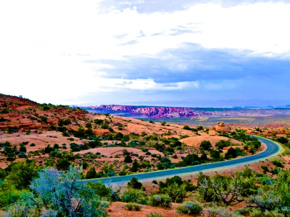 The road in Arches NP UT