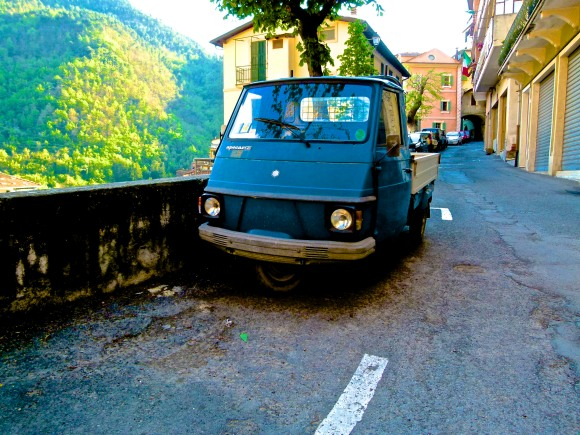 Ape Car Climbs an Alp